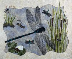 Art Quilt  Dragonfly Wall Hanging Quilt by thebutterflyquilter, $1500.00-WOW! Look at the detail in this piece!