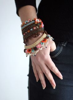 crochet cuff bracelet inspiration. Pretty!