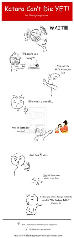 Katara Can't Die YET! by flamingtunapictures.deviantart.com -- well, Bumi and Kya could have adult children....