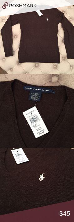 Ralph Lauren Sport v-neck sweater NWT. Ralph Lauren Sport v-neck sweater. brown with white logo. size medium. 40% merino wool, 25% nylon, 25% viscose, 10% cashmere. lightweight. no trades please Ralph Lauren Sweaters V-Necks