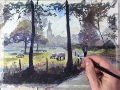 Watercolor Art Landscape, Watercolor Architecture, Watercolor Art Lessons, Watercolor Painting Techniques, Watercolor Pictures, Landscape Paintings, Watercolor Paintings, Urban Painting, Prado