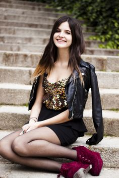 gorgeous girl +her wine bootie shoes+ the sparkle gold top part of the dress+ the black leader jacket+ dipdye hair= total fashionista