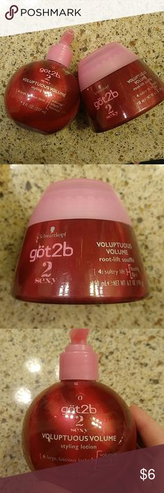 NEW got2b Volumizing products Voluptuous Volume styling lotion in pump bottle and a Voluptuous Volume root-lift souffle in the jar. Both new. Bundle and save got2b Makeup