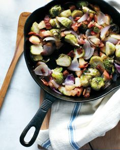Brussels Sprout, Apple, and Bacon Hash - made Oct 2013 - REALLY good! Would make again. I did not roast the apple whole, I cut it up and added it to the oven about 15 minutes after the onion/sprouts; I also added a bit of white wine to deglaze the pan.