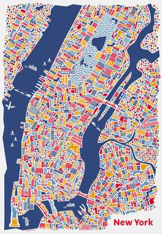 New York City Map Poster by Nina Simone Wilsmann from Vienna, Austria who works with Corporate Design, Grafik Design, Web Design und Illustration. Links to Vienna Map in same collection. New York Poster, New York City Map, City Maps, Hamburg Poster, Brooklyn Bridge, Empire State Building, City Map Poster, Ny Map, Geography