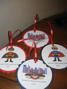 Superhero Party Favor Tags Quantity 4. , via Etsy.