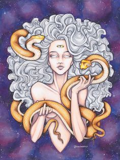 Trippy psychedelic art with snakes and galaxy Psychedelic Art, Art Sketches, Art Drawings, Medusa Art, Medusa Painting, Medusa Drawing, Psy Art, Hippie Art, Dope Art