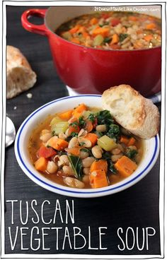 Tuscan Vegetable Soup. It's the perfect soup for combating flu season and cold winter nights, all while being incredibly scrumptious. Good bye evil colds, hello yum in my tum. #itdoesnttastelikechicken