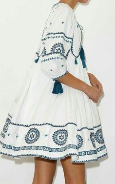 cute summer dress with embroidery and tassels