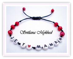 """Bracelet """"Je t'aime Maman"""" . Bracelet Cadeau pour fete de maman. : Bijoux enfants par perles-et-couronnes"""