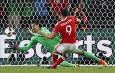 Hal Robson Kanu scores against Belgium.