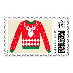 Ugly Christmas Sweater Postage Stamps