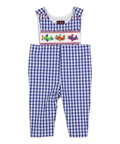 Love this Dark Blue Gingham Airplane Overalls - Infant & Toddler by Lil Cactus on #zulily! #zulilyfinds