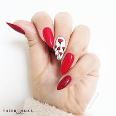 """""""Everything has beauty, but not everyone sees it"""". Confucius #red #floral #manicure #quotes"""