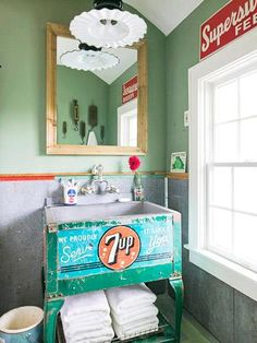 vintage pieces take on new life - 7up cooler as bathroom sink