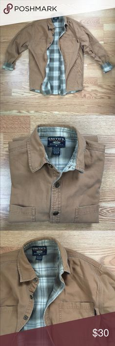 Flannel Lined Work Shirt, Medium Amazing flannel lined work shirt/jacket.  Or Carhartt but similar in style and quality. Smith's Workwear out of Brooklyn, NY! Soft and broken in, so comfortable. Perfect spring layer. Cool desert 🌵 colors with sage green plaid flannel. Only flaw I can find is a tiny pin hole near the hem. (See last picture) Carhartt Jackets & Coats