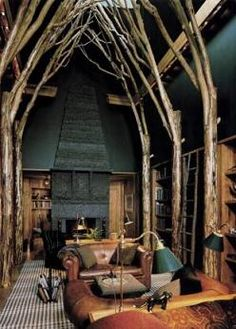 Home study library in Connecticut which was designed by Centerbrook Architects. The 'library in a forest cathedral' was inspired by the great halls of medieval Europe: http://www.centerbrook.com/project/marsh_estate_lodge