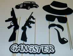 DIY- 15 Photo Booth Props Gangster Good Fellas Mob Guns Cigarette (2093D) #HandCrafted
