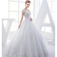 Ball+Gown+Wedding+Dress+-+White+Floor-length+Queen+Anne+Satin+/+Tulle+–+USD+$+180.49