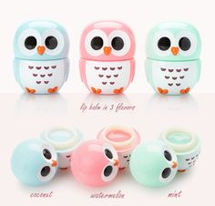 Absolutely adorable owl shaped colorful containers that are filled with hand cream and lip balm. Pink Lip Gloss, Pink Lips, Lipbalm, Love Lips, Eos Lip Balm, Baby Lips, Lip Care, Cute Makeup, Hand Cream