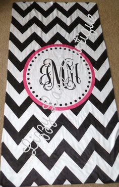 Monogrammed Chevron Beach Towel  www.facebook.com/lizzylaneboutique    @Lindsey Pyatt  @Lizzy Lane Boutique reminds me of you!