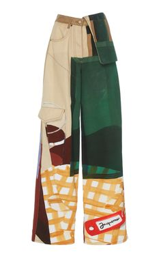 High-Waisted Wide-Leg Patchwork Cargo Pants by Jacquemus Looks Street Style, Looks Style, Mode Outfits, Fashion Outfits, Mode Ootd, Look Retro, Vetement Fashion, High Fashion, Womens Fashion