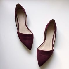 "J. Crew d'orsay flats burgundy shoes In perfect condition!  Please use ""offer"" button to make any offers. TRADES WILL BE IGNORED. J. Crew Shoes Flats & Loafers"