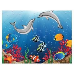 JP London PMUR2065 Kids Undersea Dolphin Ocean Peel and Stick Removable Wall Mural