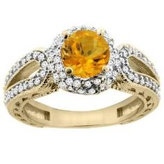 Yellow Gold Round Citrine Diamond Engagement Ring - Unusual Engagement Rings Review