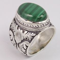 925 Sterling Silver Men's Ring Size US 7.75 Natural MALACHITE Cabochon Gemstone #Unbranded