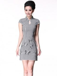 Plaid Short Cheongsam / Qipao / Chinese Summer Dress