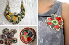 emboidered brooch and necklace