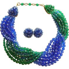 Coppola e Toppo 1960 Periwinkle and Green Crystal Book Piece Necklace Set