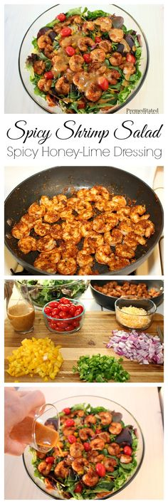 A quick and easy recipe for Southwest Shrimp Salad with Spicy Honey-Lime Dressing Salad ideas, salad recipes, Seafood Dishes, Seafood Recipes, Cooking Recipes, Healthy Salads, Healthy Eating, Healthy Recipes, Honey Recipes, Healthy Food, Spicy Shrimp Salad