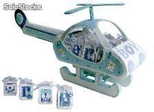 Expositor helicoptero baby azul + 16 cajitas baby azul