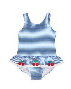 Florence Eiseman Blue and White Stripe Seersucker Swimsuit with Cherries
