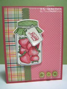 Berry Sweet jar card. Those strawberries look good enough to eat!