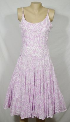TORI RICHARD Pink/White Patterned Spaghetti Strap Dress 4 Raw Edge Pleats Lined #ToriRichard #TeaDress #Casual