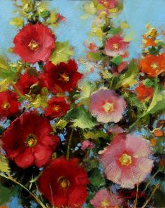 Oil Painting Classes Near Me Oil Painting For Sale, Paintings For Sale, Painting Classes, Impressionist Landscape, Landscape Paintings, Hollyhocks Flowers, Beautiful Paintings, Cute Art, Watercolor Paintings