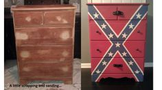 Rebel flag chest of drawers for Eric Jrs room