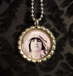John Lennon Bottle Cap Necklace or Keychain JL by AdAstraEmporium, $6.00