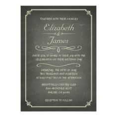 Ivory Vintage Chalkboard Wedding Invitations