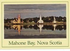 NOVA SCOTIA, POSTCARD, CANADA, MAHONE BAY, THREE CHURCHES
