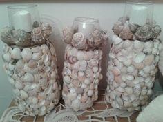 candle holder seashells diy