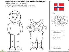 First Grade Social Studies Worksheets: Paper Dolls Around the World: Europe I Social Studies Worksheets, Worksheets For Kids, Kids Around The World, Around The Worlds, Coloring For Kids, Coloring Pages, Coloring Worksheets, Europe Day, Little Passports