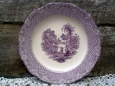 """Vintage Ironstone Purple Plum Mulberry Luncheon Plate 9 1/8"""", Purple Transferware, English Transferware,  Wall Decor, Serving by CottonCreekCottage on Etsy"""