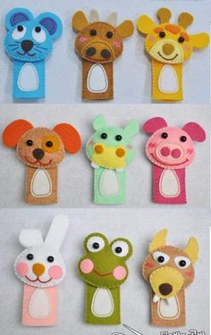 Ideas craft felt pattern finger puppets for 2019 Felt Puppets, Felt Finger Puppets, Hand Puppets, Puppets For Kids, Finger Puppet Patterns, Crafts For Kids, Diy Crafts, Simple Crafts, Puppet Making