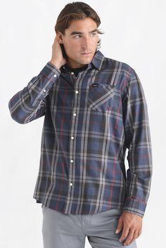 RVCA Long Waas Plaid Midnight Button Down Shirt | South Moon Under
