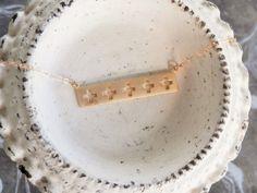 Minimalist Matte Gold Bar Necklace // Cross Cut by ransomjewelry