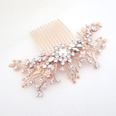 Rose Gold Bridal hair comb Crystal Wedding by treasures570 on Etsy